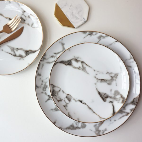 Luxurious Marble Pattern Porcelain Plate