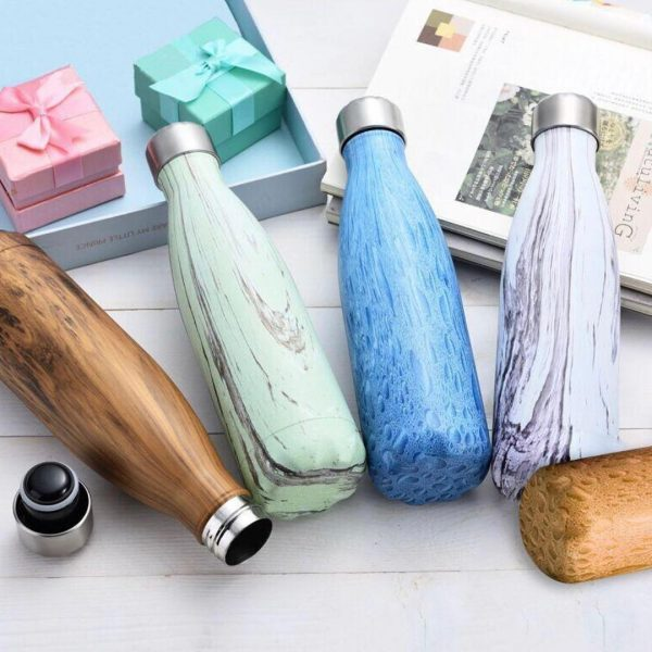 Stainless Steel Water Flasks with Marble Textured Design