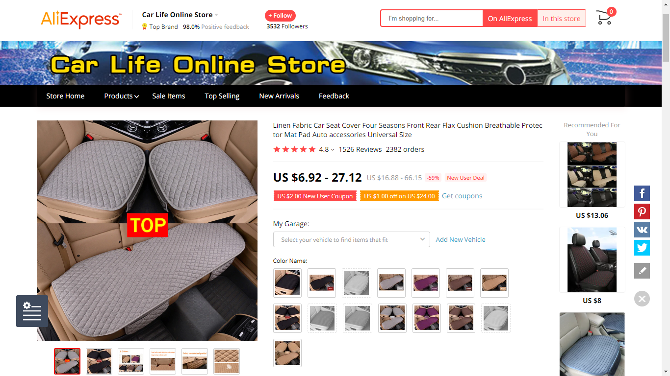 42 Linen Car Seat Cover for Protection